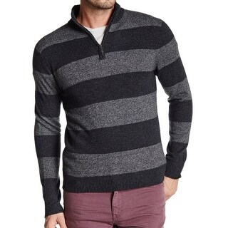 Qi NEW Men's Black Size Large L Striped 1/2 Zip Cashmere Sweater