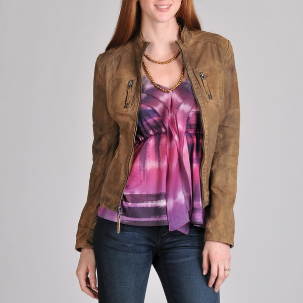 Buffalo Women's Distressed Leather Jacket