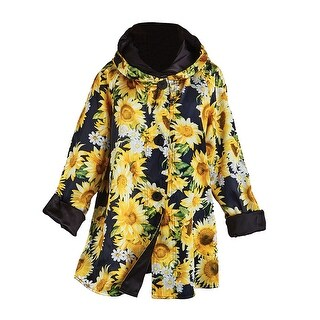 Women's Reversible Sunflowers Swing Jacket - Hooded Rain Coat with Button Front