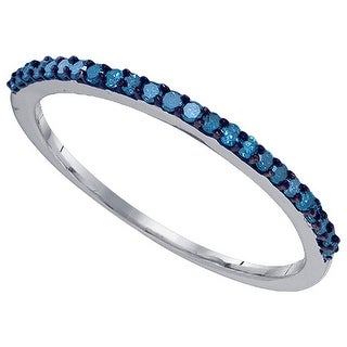 10kt White Gold Womens Round Blue Colored Diamond Band Fashion Ring 1/5 Cttw