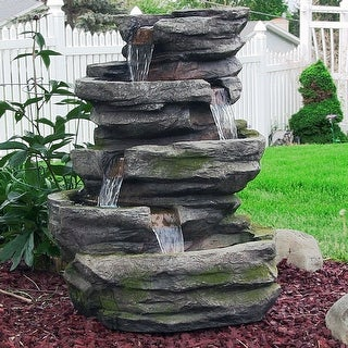 Exceptionnel Sunnydaze Lighted Cobblestone Waterfall Fountain With LED Lights   31 Inch  Tall