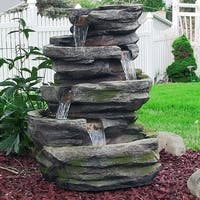 Sunnydaze Lighted Cobblestone Waterfall Fountain with LED Lights - 31-Inch
