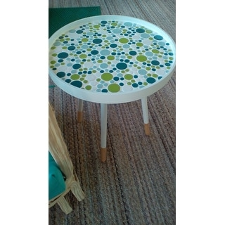 Marcella Paint-dipped Round Spindle Tray-top Side Table iNSPIRE Q Modern