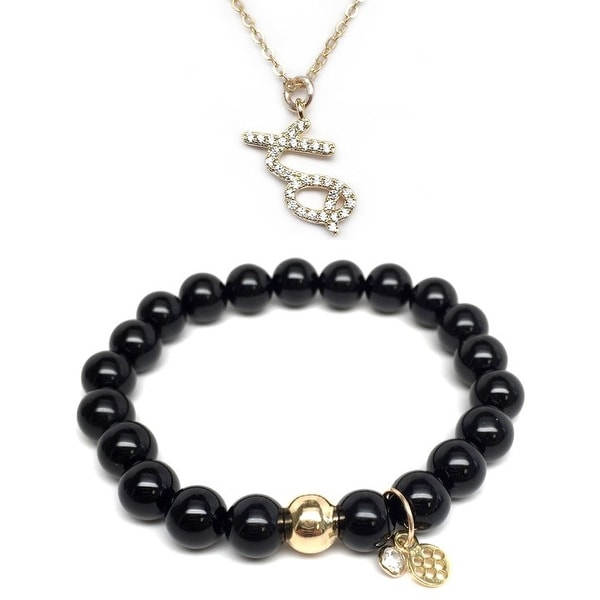 "Black Onyx 7"" Bracelet & CZ XO Gold Charm Necklace Set"