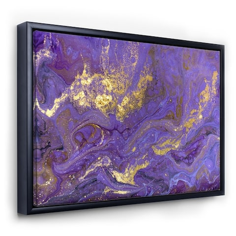 Designart 'Gold And Purple Marbled Rippled Texture I' Modern & Contemporary Framed Canvas Wall Art Print