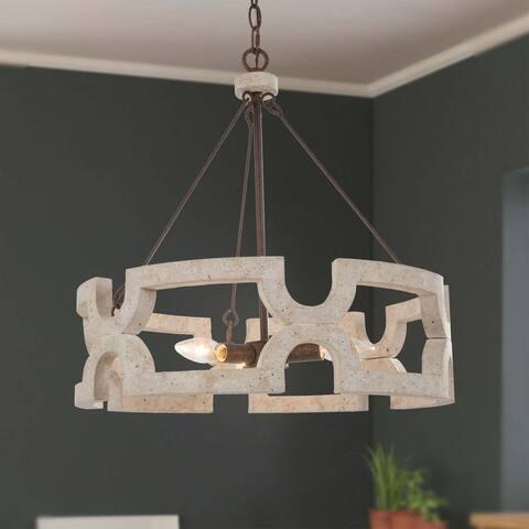 Handmade Retro 3 Lights Drum Wood Chandelier Hanging Pendant Lights
