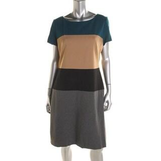 BOSS Hugo Boss Womens Colorblock Short Sleeves Wear to Work Dress - 0