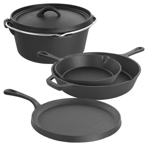 MegaChef Pre-Seasoned CastIron 5Pc Kitchen Cookware Set, Pots and Pans