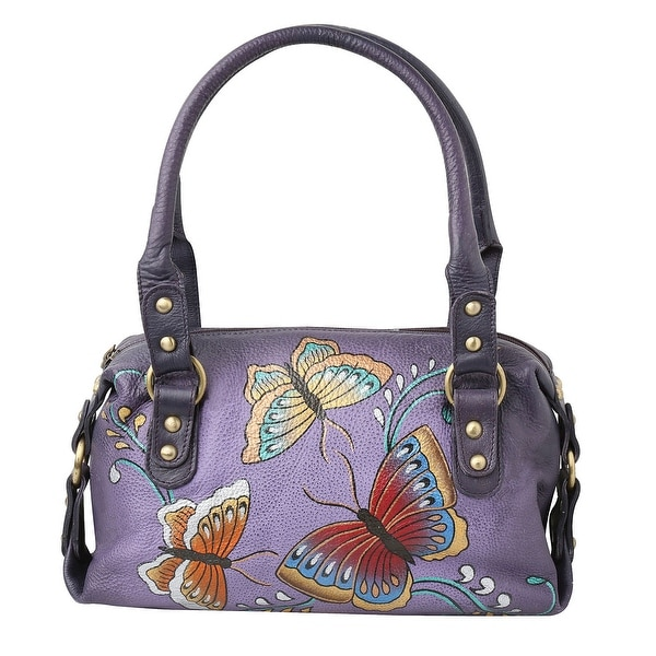 1175ab2eb81 Women's Butterfly Handbag - Hand Painted Purple Leather Satchel Purse - One  Size