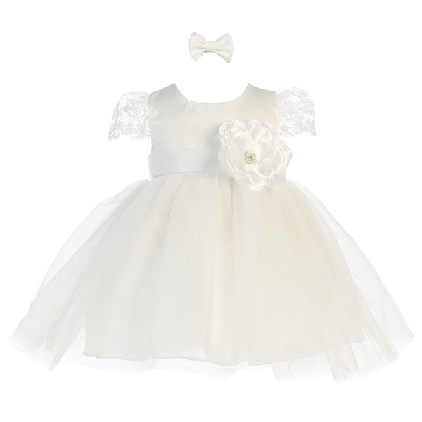 Baby Girls Ivory Satin Floral Accented Glitter Tulle Flower Girl Dress