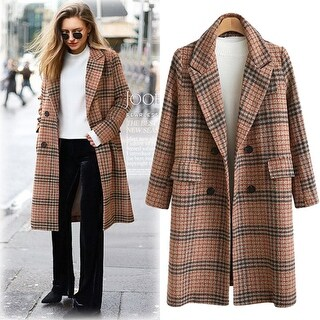 Link to Women's Long Sleeve Lapel Plaid Wool Coat Similar Items in Women's Outerwear