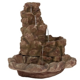 Sunnydaze Lighted Stone Springs Outdoor Water Fountain with LED Lights, 41.5 Inc