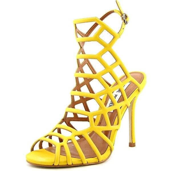 Steve Madden Slithur Women Open Toe Leather Yellow Sandals
