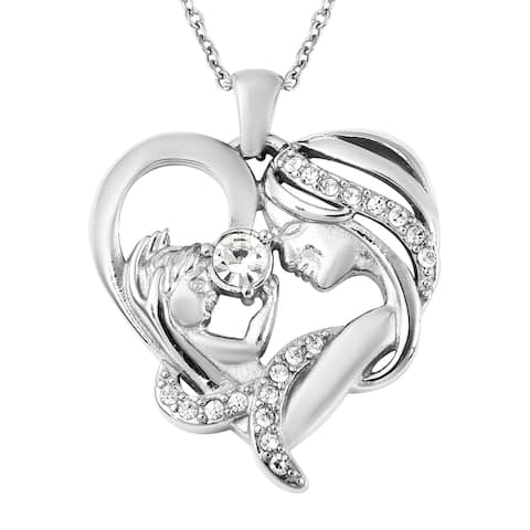 Shop LC Stainless Steel White Crystal Pendant Necklace Size 20 In - Size 20''