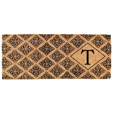 """Regency Monogram Doormat 18"""" x 46"""" x 1.5"""" (Letter T) - 18 x 46 in"""