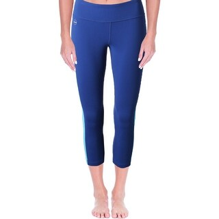 L-RL Lauren Active Womens Athletic Leggings Colorblocked Cropped
