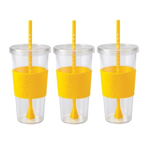 Copco Sierra On The Beach Tumbler With Spill Resistant Lid & Removable Straw - BPA Free Plastic 24 Oz - Pack Of 3 - Pineapple