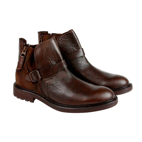 GBX Teem Mens Brown Leather Boots Strap Boots Shoes