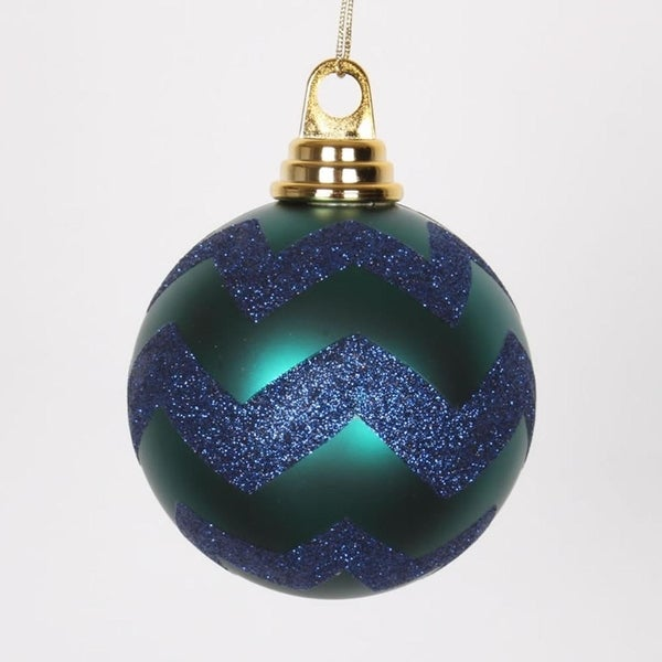 "Teal Green Matte and Sea Blue Glitter Chevron Shatterproof Christmas Ball Ornaments 4"" (100mm)"