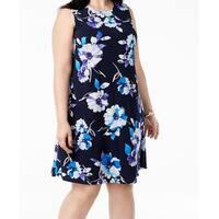 Jessica Howard Blue Floral Print Women's Size 24W Plus Shift Dress