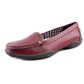 Anne Klein Gabby Women Square Toe Leather Burgundy Loafer
