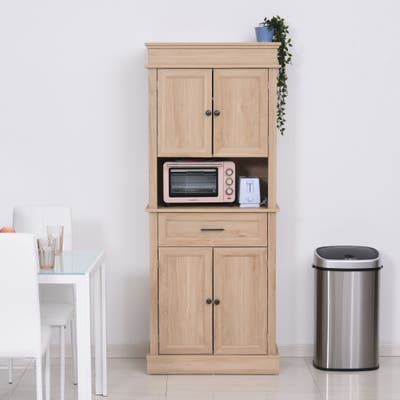 HOMCOM Traditional Freestanding Kitchen Pantry Cabinet Cupboard with Doors and Shelves, Adjustable Shelving