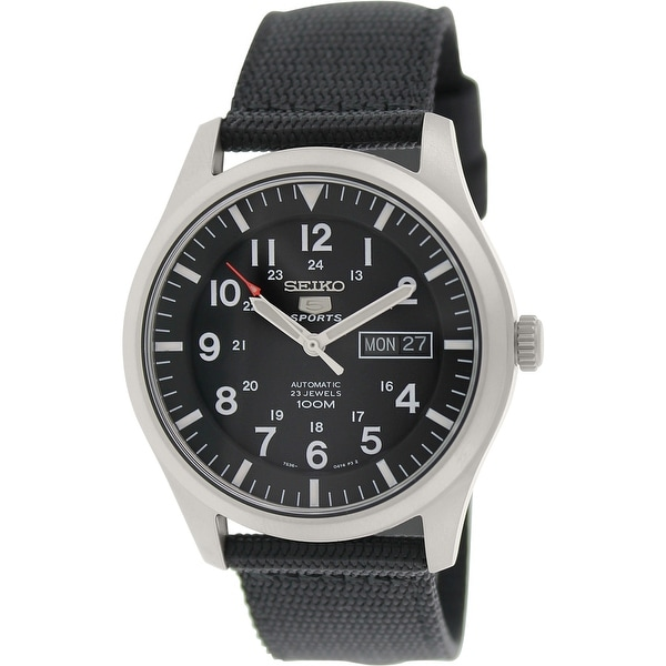 b52cfe2d2 Shop Seiko Men's 5 Automatic Black Nylon Automatic Fashion Watch - Free  Shipping Today - Overstock - 19387128