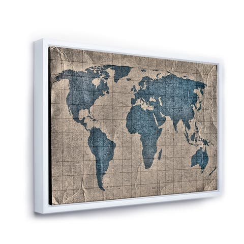 Designart 'Ancient Map of The World I' Rustic Framed Canvas Wall Art Print