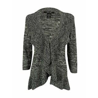 Style & Co. Women's 3/4 Sleeve Marled Ruffle Cardigan