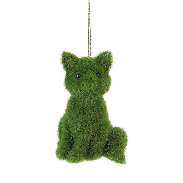 "4.25"" Green Fuzzy Seated Fox Christmas Ornament"