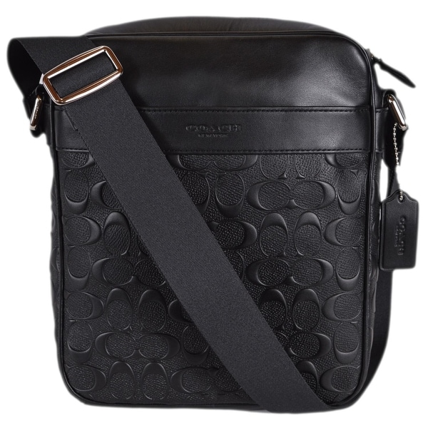 ... cheapest coach menx27s f11741 black signature leather charles flight  crossbody bag bfef1 b8f64 ... c3ed99d1a0516