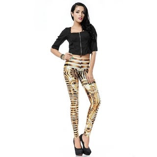 Fashion Lady Pattern Printed Golden Pharaoh Stretch Tight Leggings Skinny Pants