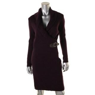 Lauren Ralph Lauren Womens Sweaterdress Ribbed Knit Buckle - s