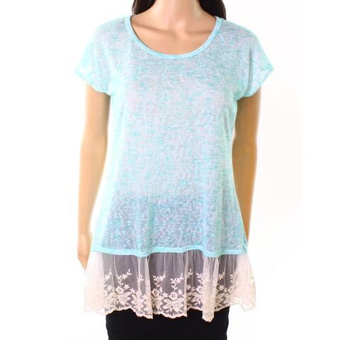 Moa Moa Mint Womens Medium Embroidered-Mesh Knit Top