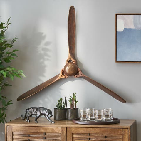 """Bellbrook Indoor Aluminum Handcrafted Propeller Wall Decor by Christopher Knight Home - 37.00"""" L x 4.25"""" W x 31.00"""" H"""