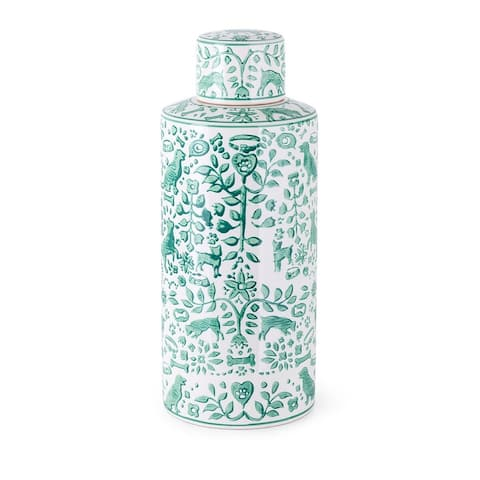 """18"""" Green and White Large Textile Patterns Hand-Painted Bottle"""