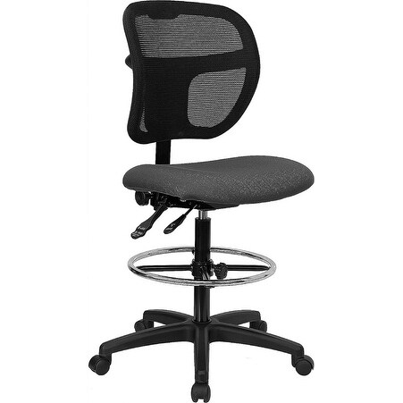 Offex Mid-Back Mesh Drafting Stool with Gray Fabric Seat [OF-WL-A7671SYG-GY-D-GG]