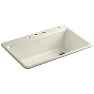 "Kohler K-5871-4A2 Riverby 33"" Single Basin Top-Mount Enameled Cast-Iron Kitchen Sink"