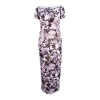Adrianna Papell Women's Metallic Floral Column Gown