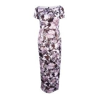 Adrianna Papell Women's Metallic Floral Column Gown - Black/multi