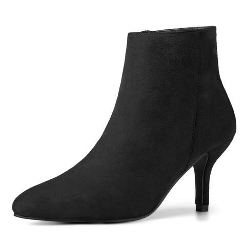Women's Pointed Toe Zip Stiletto Kitten Heel Ankle Booties