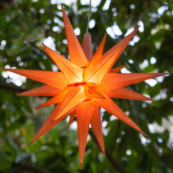 "Wintergreen Lighting 72715 Indoor / Outdoor LED Moravian Star with 60"" Lead - Amber - N/A"