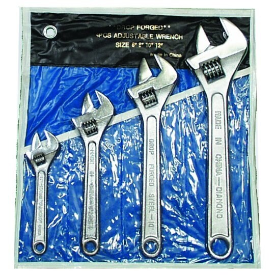 4 Piece Adjustable Wrench Set