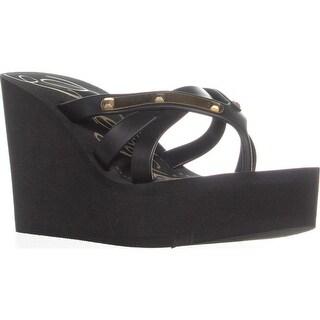 Fergie Emma Wedge Thong Sandals, Black - 7 us / 37 eu