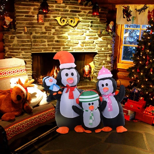 Costway 5Ft Airblown Inflatable Christmas Penguin Family Decor Lighted Lawn Yard Outdoor