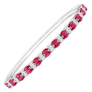 Bangle Bracelet with Red & White Swarovski Zirconia in Sterling Silver - Pink