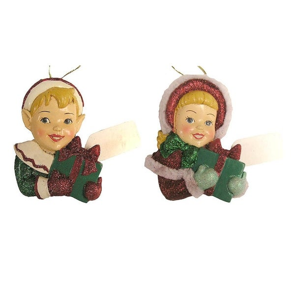 Set Of 2 Glittery Boy And Girl Elf With Gift Tag Christmas Ornaments #W6415