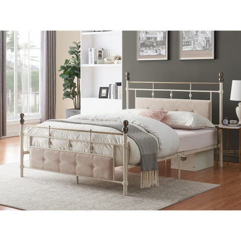 Lvory-white Industrial Flavor Bed Frame With Sponge Filling Headboard
