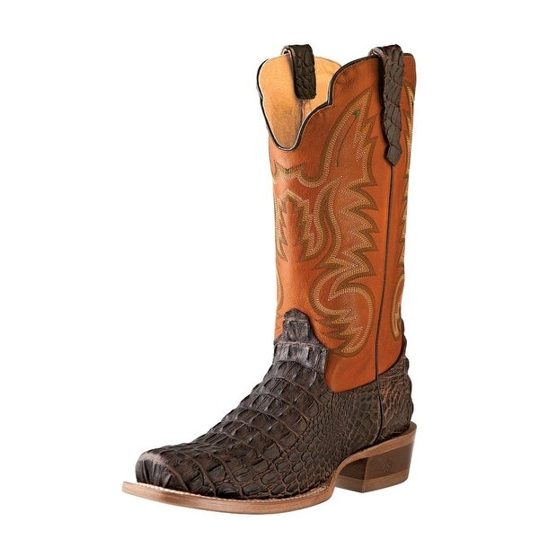 Outlaw Western Boots Mens Caiman Print Square Brandy Hornback