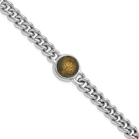 Sterling Silver Rhodium-plated Bronze Coin with 1-inch Extension Bracelet by Versil